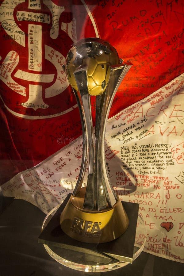 De trofee van de de clubwereldbeker van FIFA - het Museum van S C Internacional stock fotografie