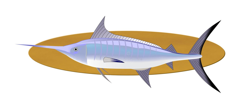 De trofee van zwaardvissen royalty-vrije illustratie