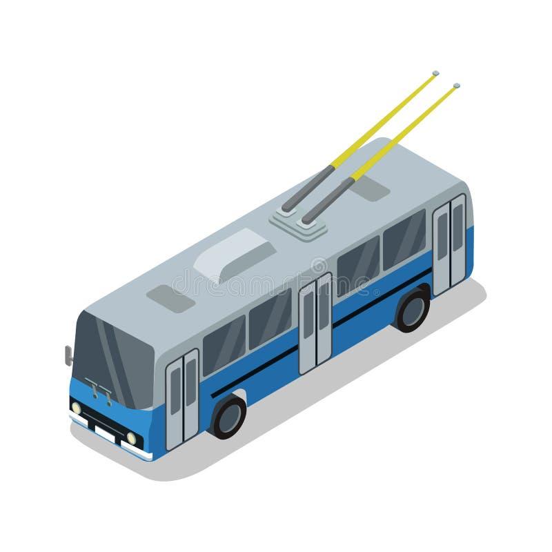 De trolleybus isoleerde isometrisch 3D pictogram stock illustratie