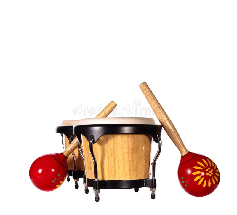 De trommels & maracas van Bongo stock afbeeldingen