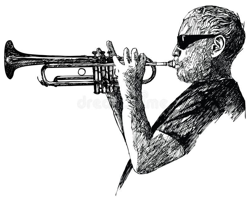 De trompetter van de jazz vector illustratie