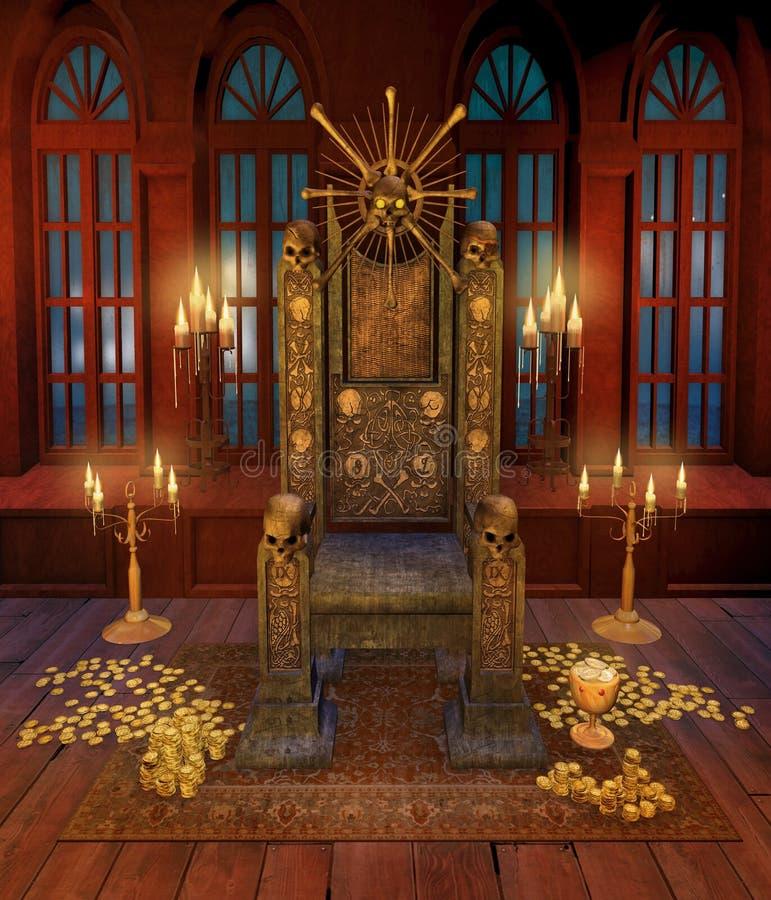 De troon van de piraat en gouden muntstukken stock illustratie