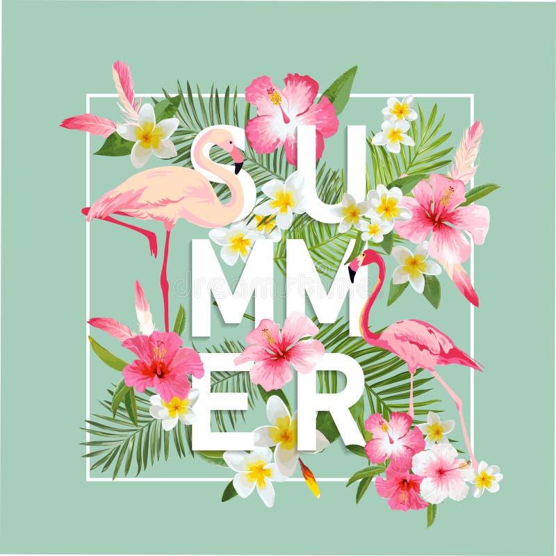 De tropische achtergrond van Bloemen De zomerontwerp stock illustratie