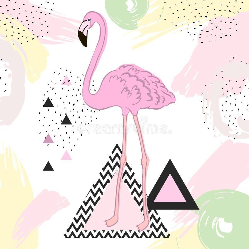 De tropische achtergrond van Bloemen De zomerontwerp Vector flamingo Grafische t-shirtmanier exotisch vector illustratie