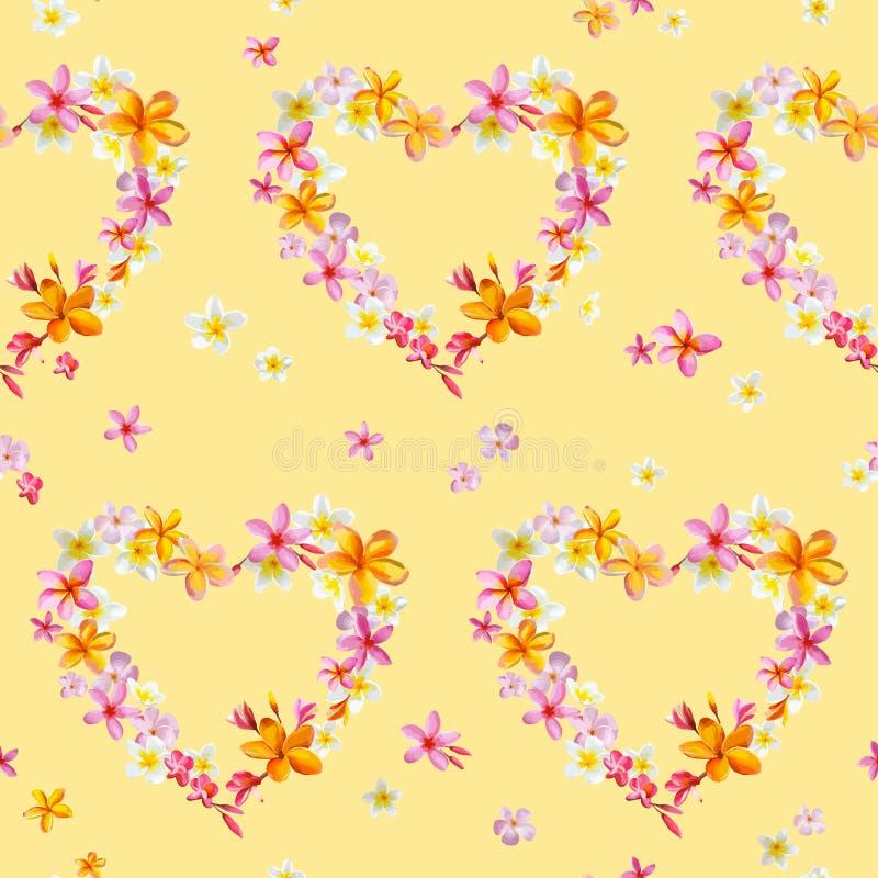 De tropische Achtergrond van Hartenbloemen royalty-vrije illustratie