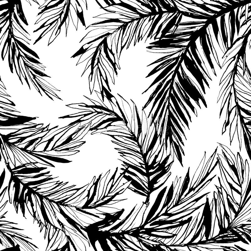 De tropische achtergrond van het wildernis bloemen naadloze patroon met palm le vector illustratie