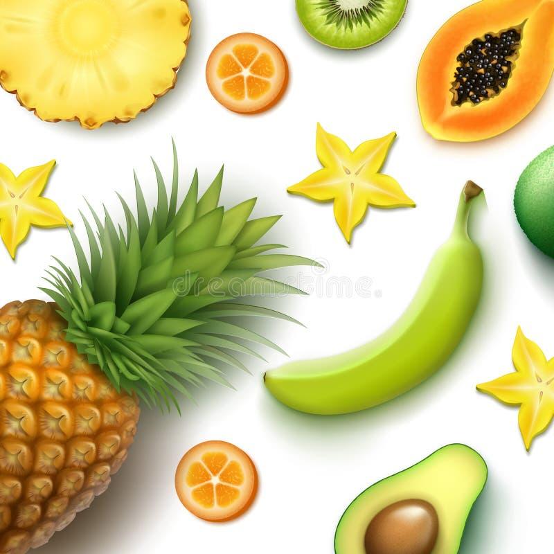 De tropische Achtergrond van Vruchten royalty-vrije illustratie