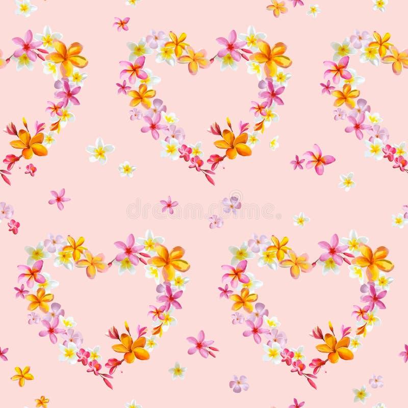 De tropische Achtergronden van Hartenbloemen royalty-vrije illustratie