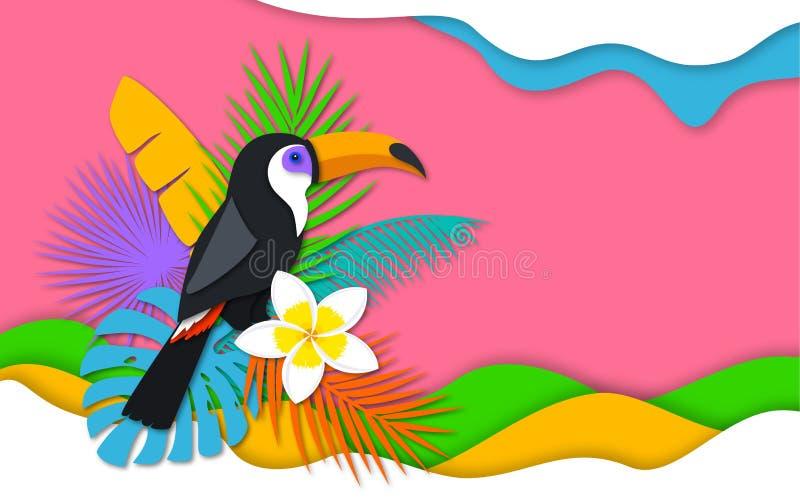 De tropische banner in digitaal document sneed stijl met toekan vector illustratie