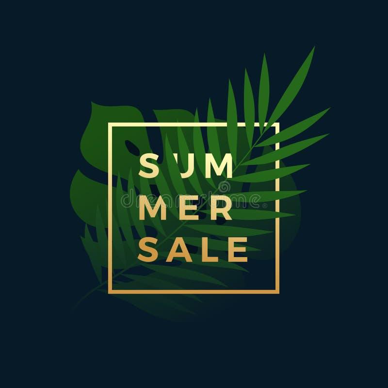 De Tropische Banner van de de zomerverkoop Varen en Monstera-Palmbladen in een Gouden kader met Moderne Typografie Abstracte vect royalty-vrije illustratie
