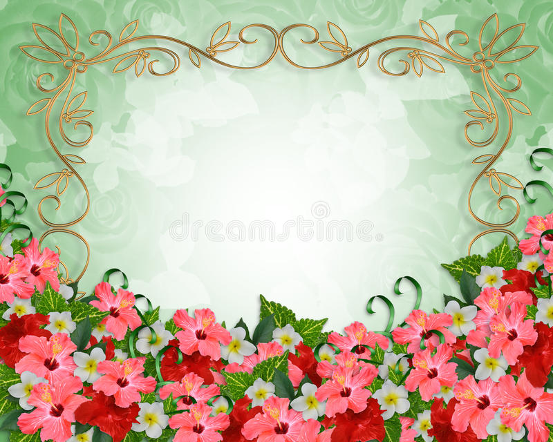 De Tropische Bloemen van de uitnodiging van het huwelijk royalty-vrije illustratie