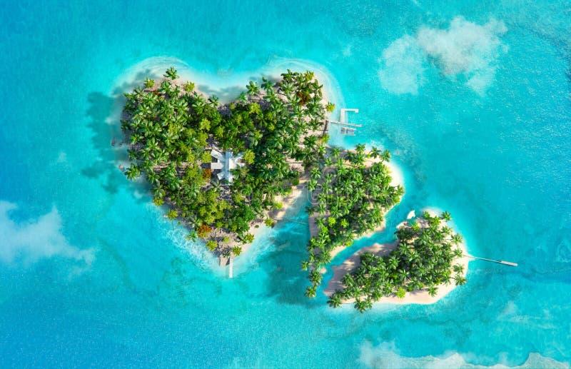 Download De Tropische Eilanden In De Vorm Van Twee Harten, Is Gebroken Stock Illustratie - Illustratie bestaande uit oceaan, eiland: 107707225