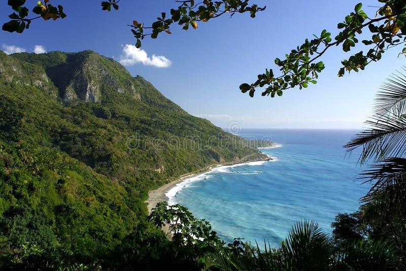 De tropische kustlijn van de Dominicaanse Republiek stock foto's