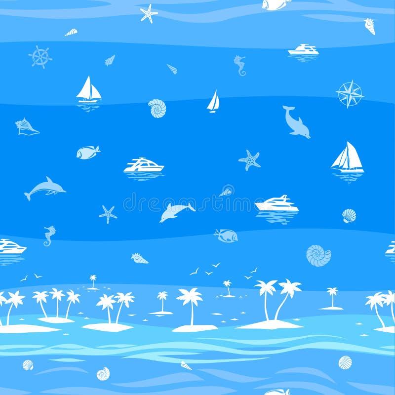 De tropische naadloze vectorachtergrond van de strandvakantie royalty-vrije illustratie