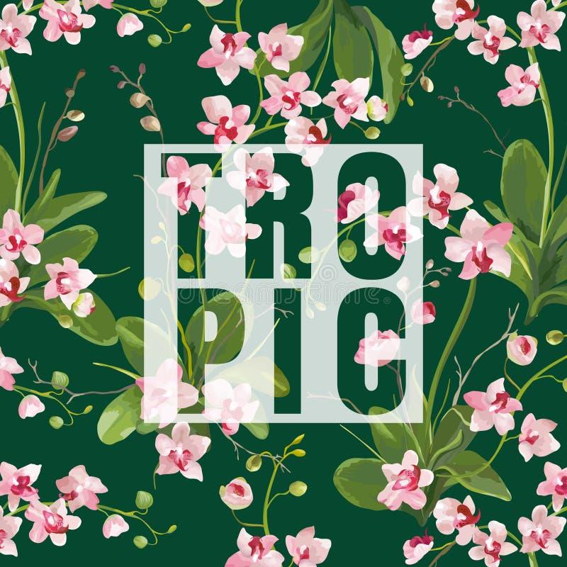 De tropische Orchidee bloeit Achtergrond Grafisch T-shirtontwerp vector illustratie