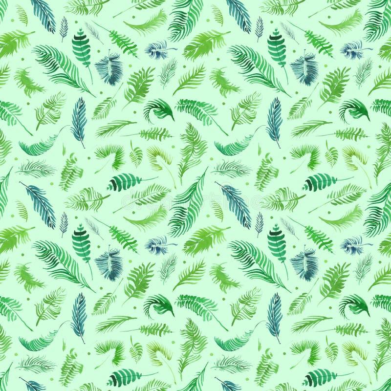 De tropische palmbladen, wildernis verlaat naadloze bloemenpatroonachtergrond, Waterverf tropisch decor vector illustratie