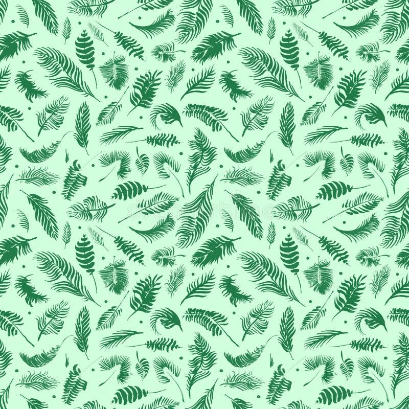 De tropische palmbladen, wildernis verlaat naadloze bloemenpatroonachtergrond, Waterverf tropisch decor stock illustratie
