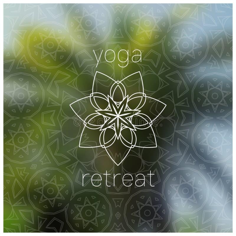 De tropische realistische banner van de yogaterugtocht met mandala vector illustratie