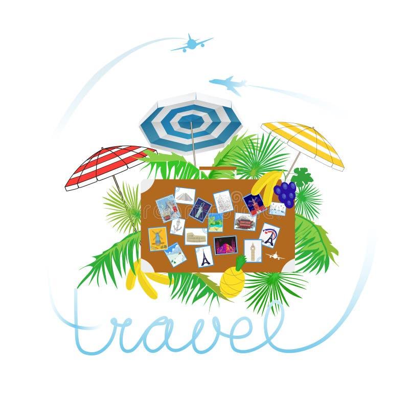 De tropische realistische samenstelling van de vakantiereis met retro bruine het leerkoffer van de vliegtuig instapkaart en zieke vector illustratie