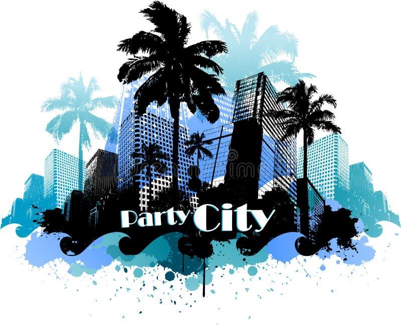 De tropische stedelijke achtergrond van de partijstad vector illustratie