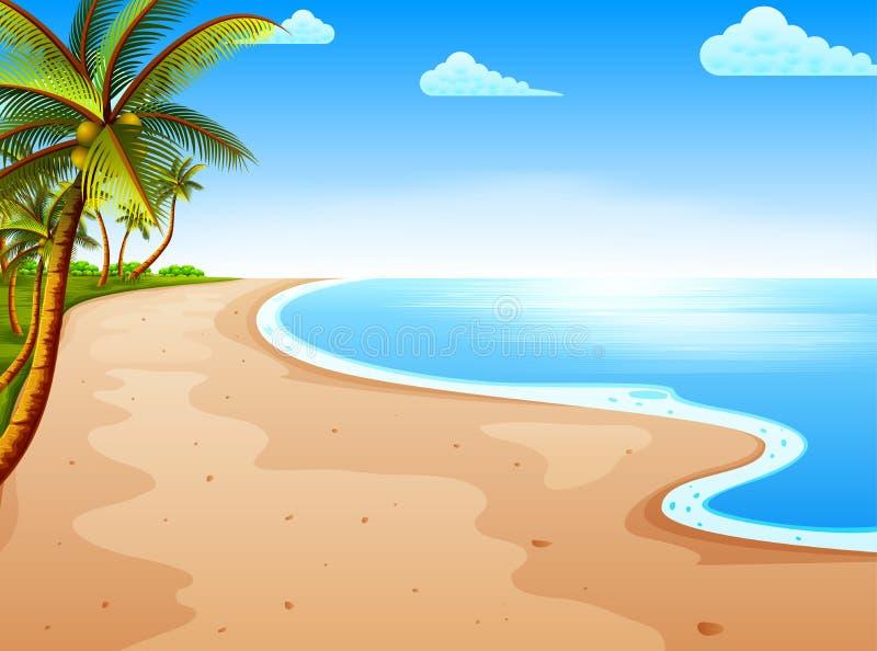 De tropische strandmening met de mooie blauwe hemel en de kokospalm stock illustratie