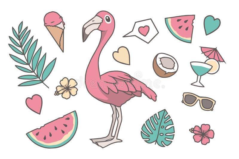 De tropische vectorillustratie plaatste met leuk roze de Flamingovogel van de beeldverhaalstijl, Palm en Monstera-blad, harten, k royalty-vrije illustratie