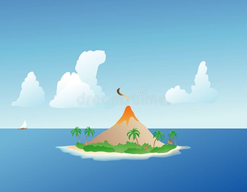 De tropische Vulkaan van het Eiland stock illustratie