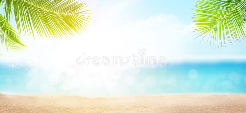 De tropische zomer met strand, palmen en blauwe zonnige hemel stock afbeeldingen