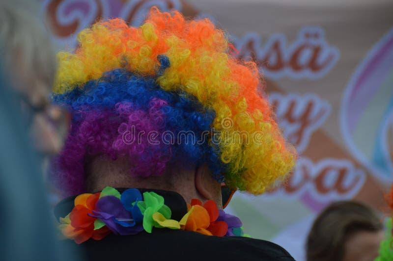 De Trots 2019 van Helsinki - mens die regenboog gekleurde pruik dragen royalty-vrije stock afbeeldingen