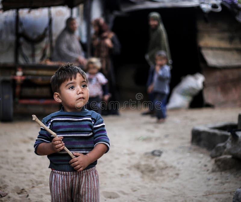 De trots van het armoedekamp in Gaza royalty-vrije stock foto