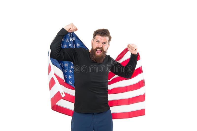 De trotse burger viert onafhankelijkheid vierde van juli Onafhankelijkheidsconcept De carri?regroei De Amerikaanse vlag van de me stock afbeeldingen