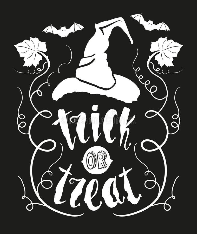 De truc of behandelt Halloween-citaat met pompoenblad en heksenhoed op zwarte bordachtergrond die wordt geïsoleerd stock illustratie