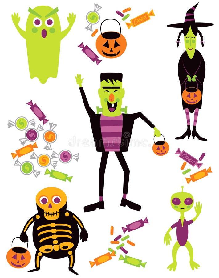 De Truc van Halloween of behandelt stock illustratie