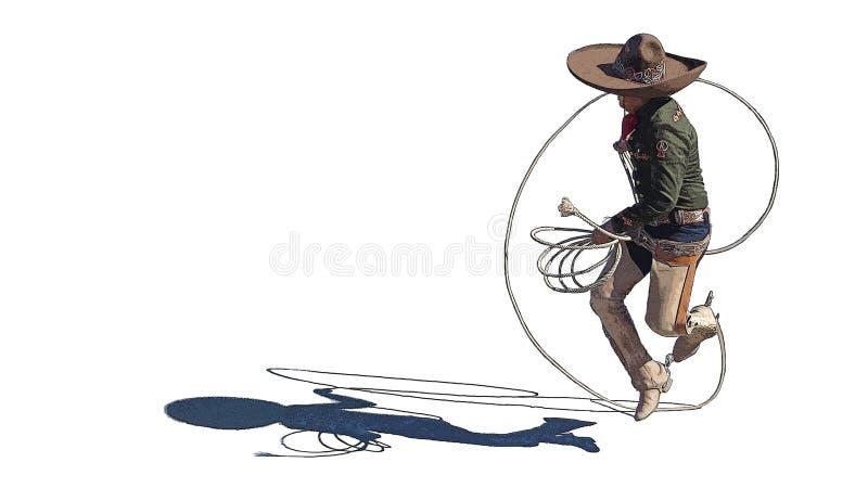 De truc van de vaquerokabel van de rodeocowboy vector illustratie