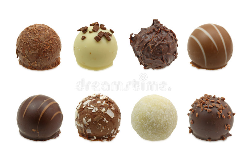De truffelsassortiment van de chocolade stock afbeeldingen