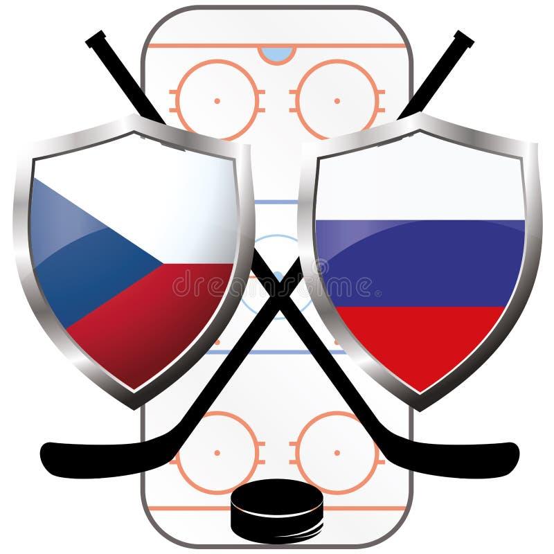 De Tsjechische Republiek van het hockeyembleem versus Rusland stock illustratie