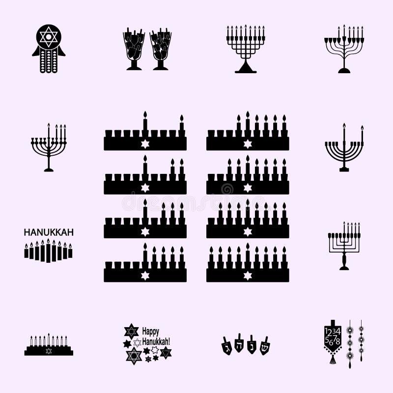 De ?tta dagarna av den Hanukah symbolen Universell upps?ttning f?r Chanukkahsymboler f?r reng?ringsduk och mobil royaltyfri illustrationer