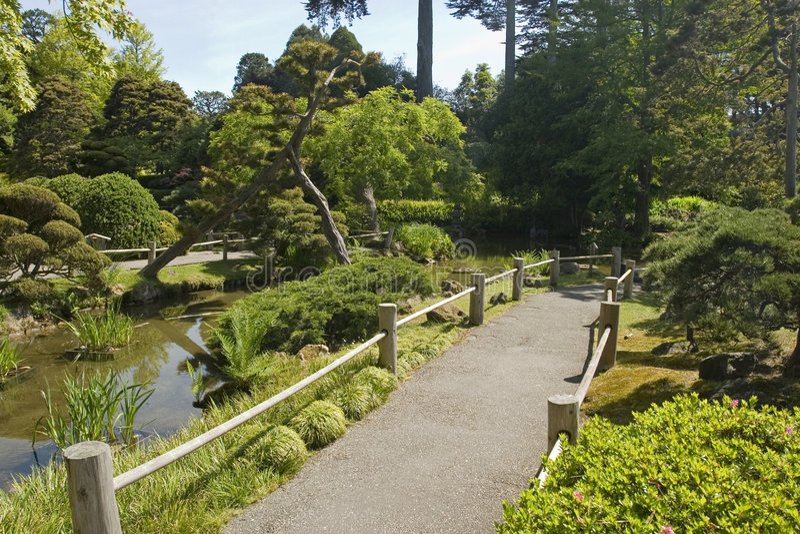 De Tuin en de weg van de thee stock afbeeldingen