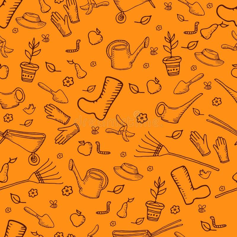 De tuin naadloos patroon van het kleuren mochrome grappig beeldverhaal, sinaasappel royalty-vrije illustratie