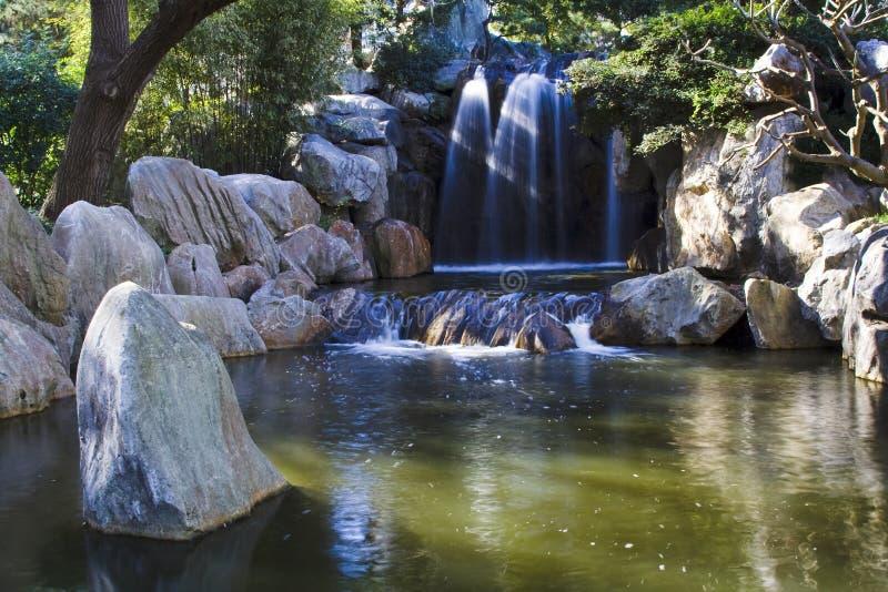 De tuin van China van de waterval stock afbeelding