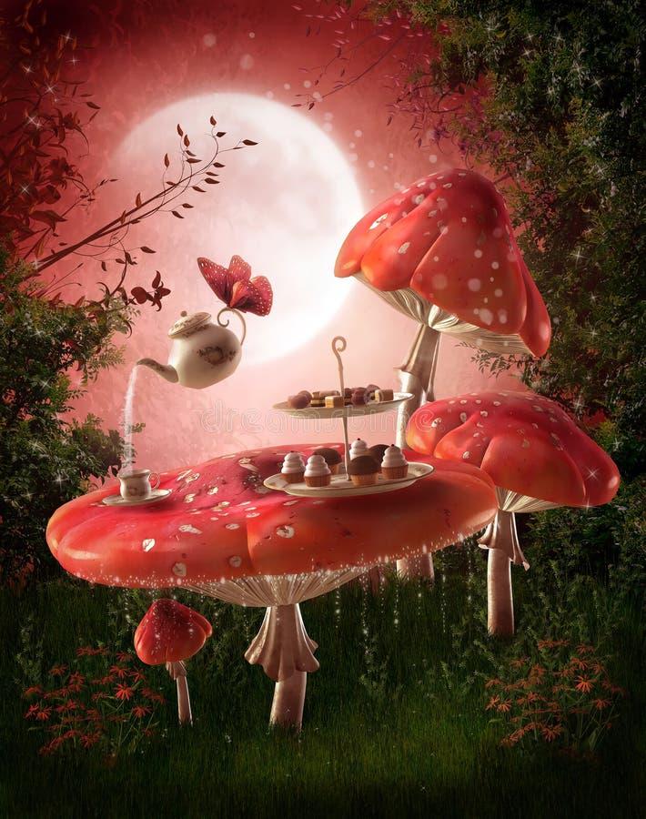 De tuin van de fee met rode paddestoelen royalty-vrije illustratie