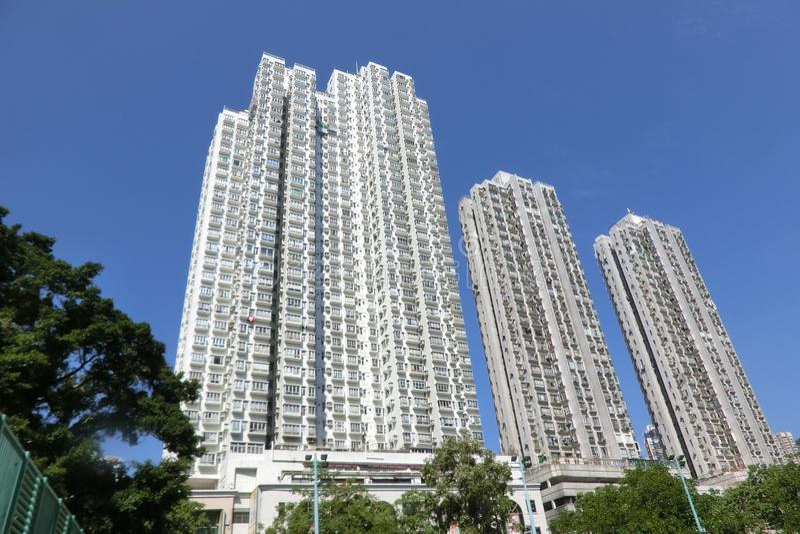 De Tuin van Hsin Kuang Centre en Tropicana-bij San Po Kong, Hong Kong stock foto's