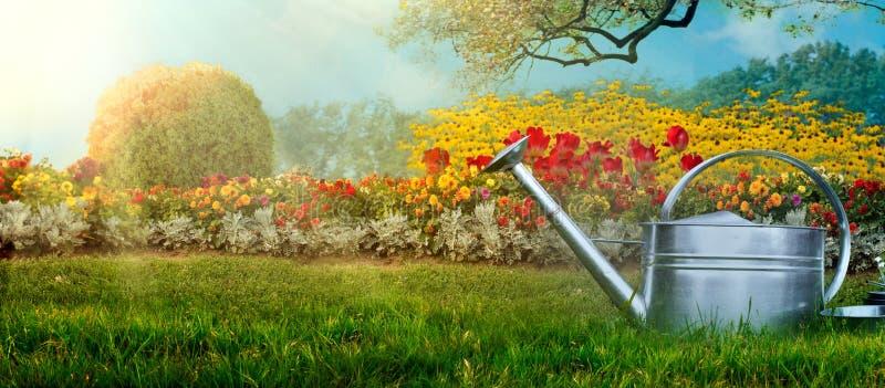 De tuin van de lente Het water kan op tuinterras royalty-vrije stock foto