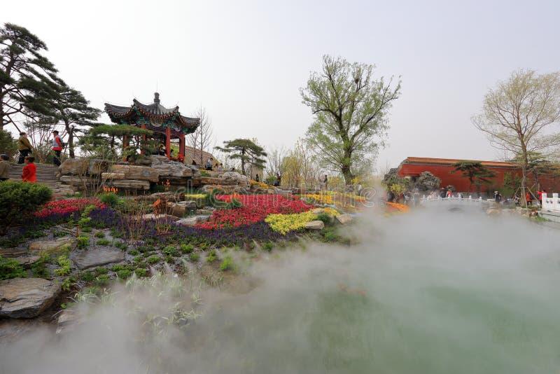 De tuin van Peking in de Internationale Tuinbouwtentoonstelling 2019 Peking China stock fotografie