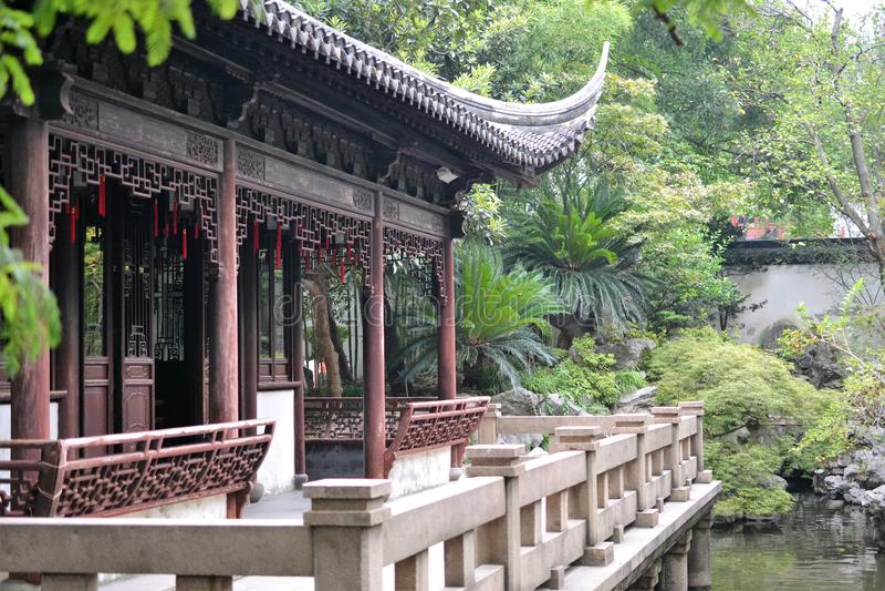 De tuin van Shanghai Yuyuan, historische tradicional Chinese Tuin in Shanghai, China stock afbeelding