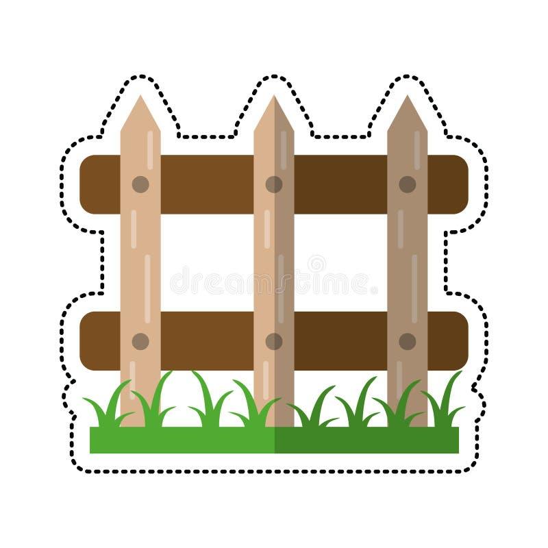 de tuinbeeld van de beeldverhaal houten omheining royalty-vrije illustratie