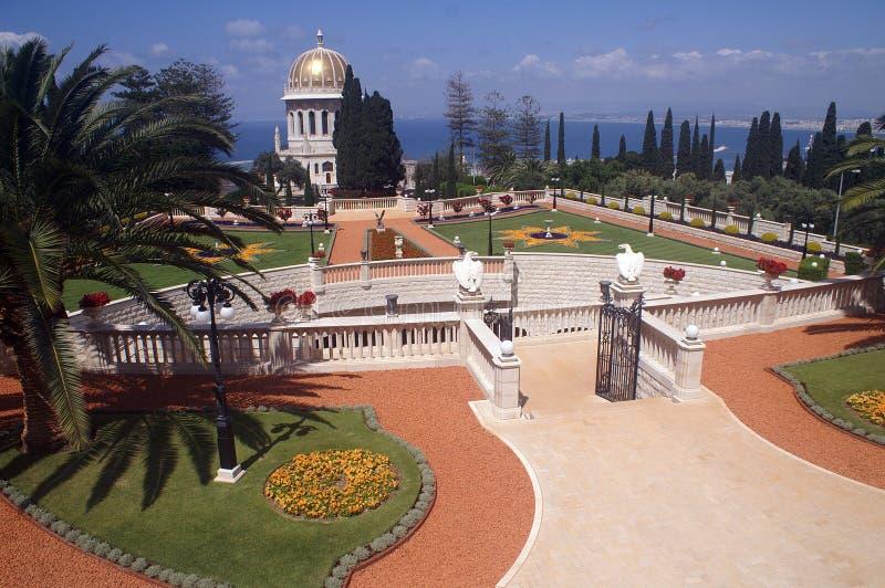 De tuinen van Bahai in Haifa stock foto