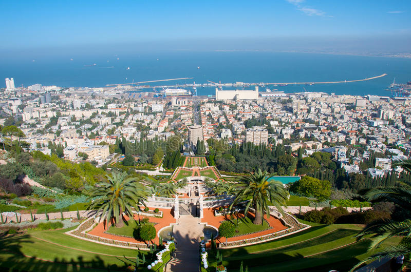 De Tuinen van Bahai. Haifa. Israël. stock afbeeldingen