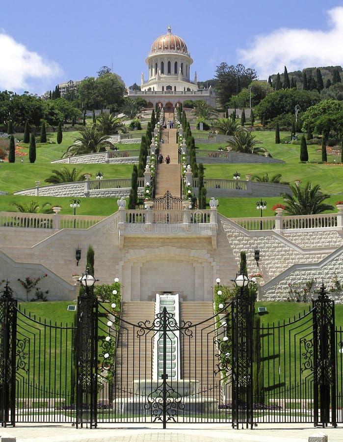 De Tuinen van Bahai in Van Noord- Haifa Israël stock afbeelding