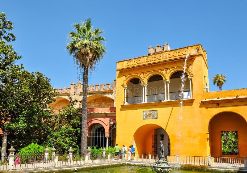 De tuinen van Sevilla Alcazar, Spanje stock foto's
